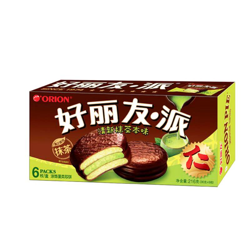 【好丽友】清新抹茶本味6片装216g