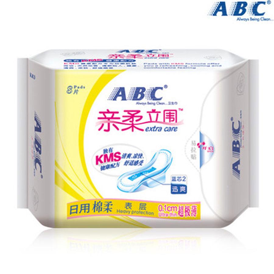 【ABC】親柔立圍棉柔排濕表層日用衛生巾 8片 含KMS健康配方 防側漏(新老包裝,隨機發貨)