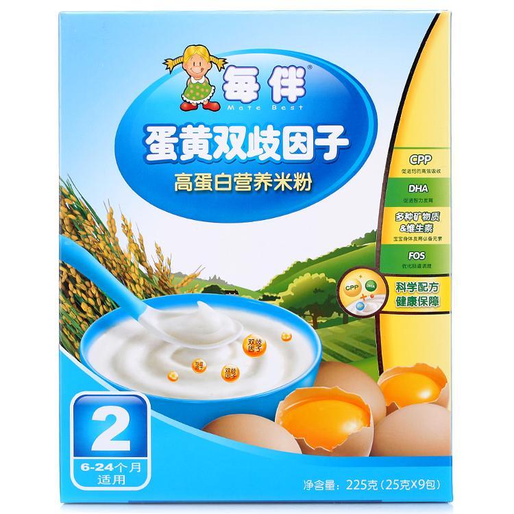 每伴蛋黃雙歧因子營養米粉 二段225g