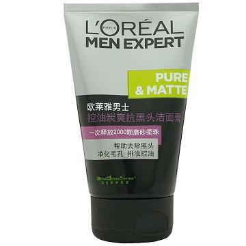 【歐萊雅】男士控油炭爽抗黑頭潔面膏100ml
