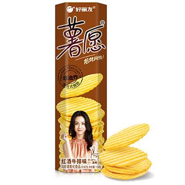【好麗友】薯愿紅酒牛排味104g