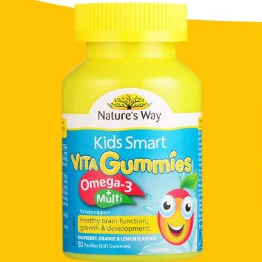 【 Nature's Way 】儿童复合维生素+Omega3鱼油软糖 50粒 澳洲直邮(吉2)