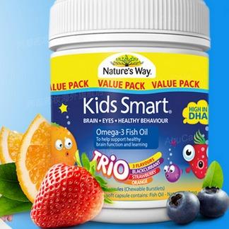 【 Nature's Way 】儿童深海DHA鱼油软胶囊 黑加仑橙子草莓味 180粒/瓶 澳洲直邮(吉2)