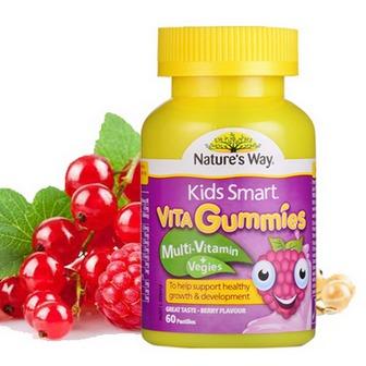 【 Nature's Way 】儿童复合维生素+蔬菜软糖 树莓味 60粒/瓶 澳洲直邮(吉2)