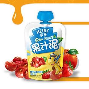 亨氏清乐2+2苹果草莓山楂红枣果汁泥120g