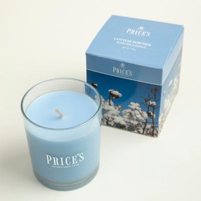 英國Prices玻璃香薰蠟燭香氛燭臺木棉味 8.3cm*7.4cm