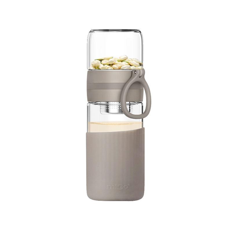 民生惠 ·MIGO 星茶 玻璃茶水分離杯   淺墨灰