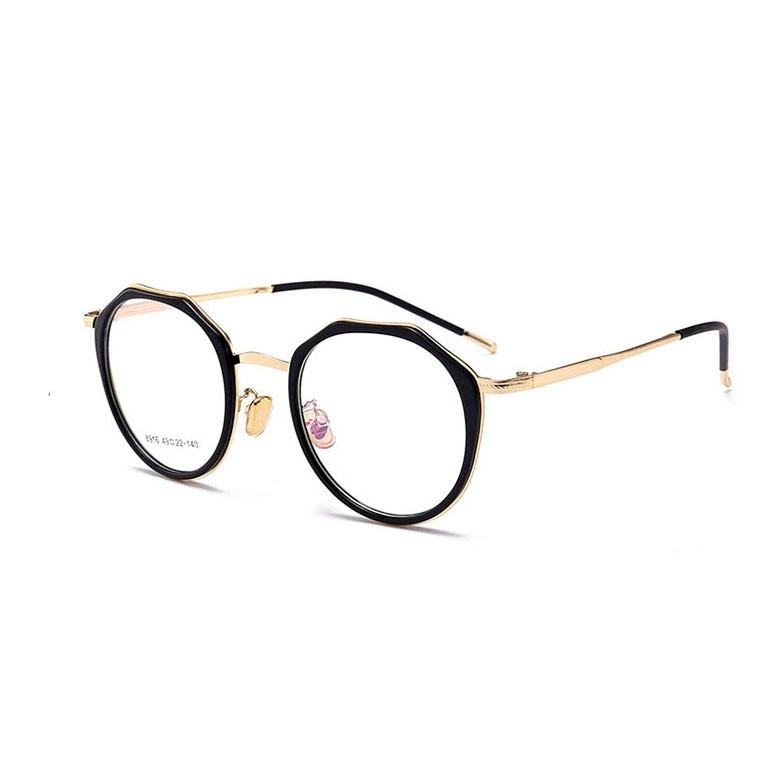 民生惠 ·LJGOOD/驪佳 防藍光護目鏡多邊形眼鏡可配近視1804 黑框金邊