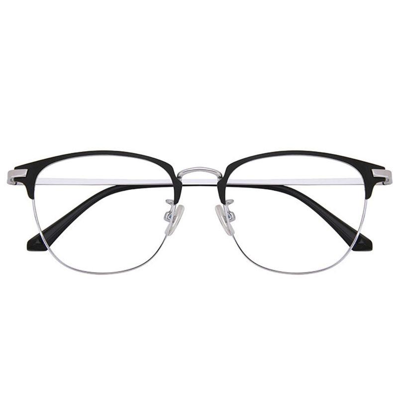 民生惠 ·LJGOOD/驪佳 超輕純鈦防藍光眼鏡框可配近視 4004 黑銀色