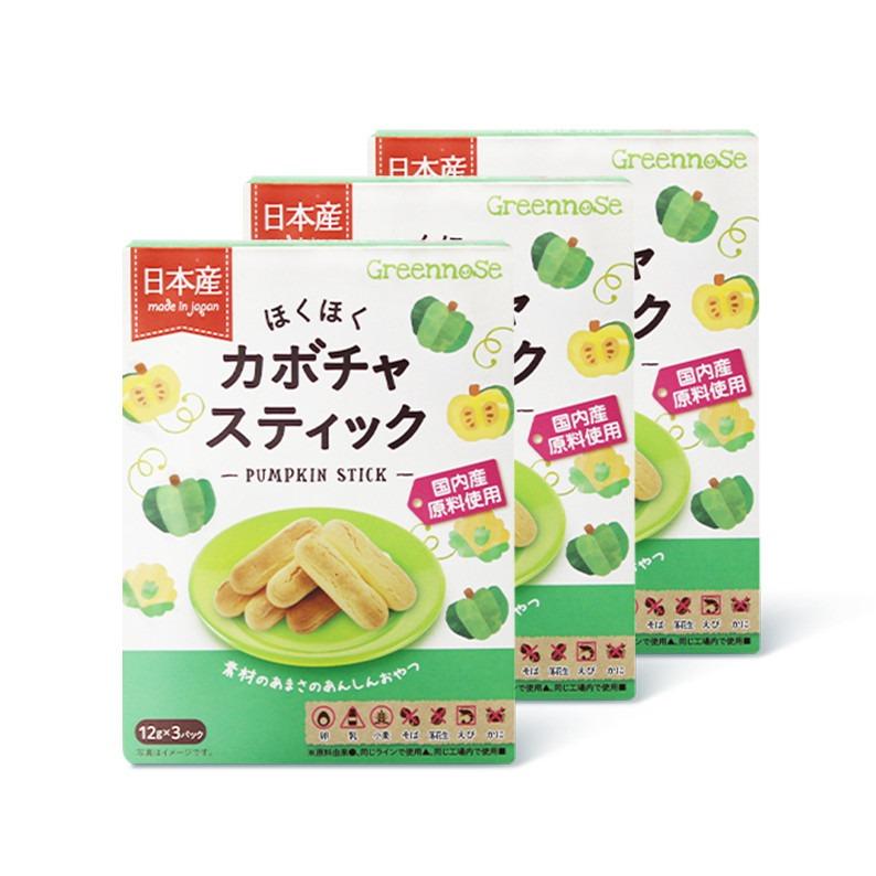 民生惠 ·GREENNOSE/綠鼻子 寶寶輔食零食雞蛋小饅頭威化南瓜手指餅干 北海道牛奶餅干3盒裝