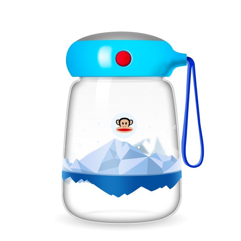 美國 大嘴猴Paul frank玻璃杯藍色380ml【Gaia 蓋亞跨境購】