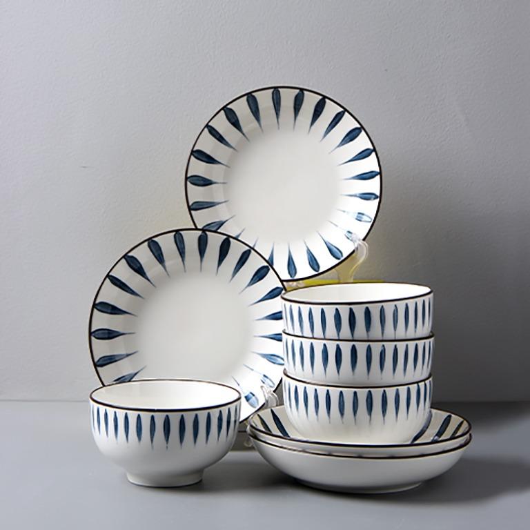 民生惠 ·日式和风釉下彩16件套(4碗+4碟+4筷子+4勺子)餐具(千叶草)