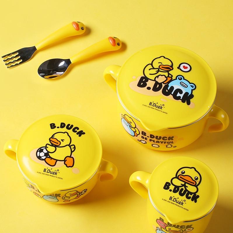 六一儿童节.盖亚-FACE&B.duck小黄鸭儿童不锈钢餐具五件套【Gaia 盖亚跨境购】