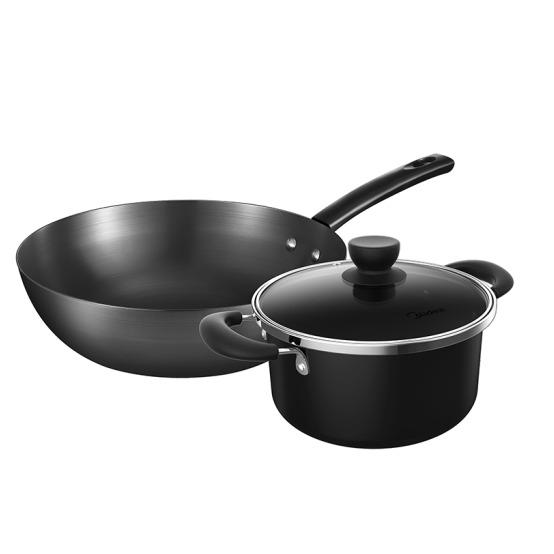 今日推薦.蓋亞-美的炊具兩件套SL0203 32cm炒鍋+20cm湯鍋