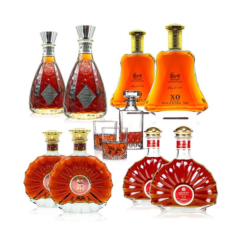 民生惠 · 白蘭地經典組合   法國原瓶進口白蘭地 700ml*8瓶(4款每款2瓶) 贈送6+1精美洋酒酒具一套