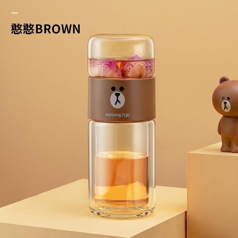 九阳LINE茶水分离泡茶杯 布朗熊