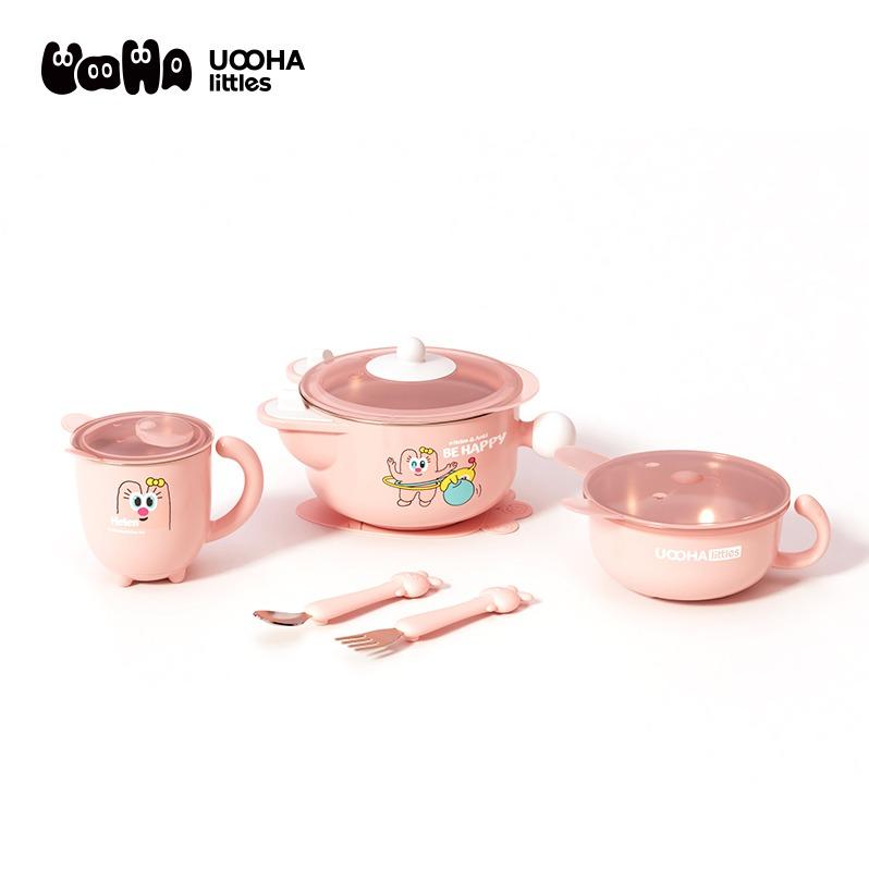 清凉季.UOOHAlittles 儿童餐具五件套 粉色